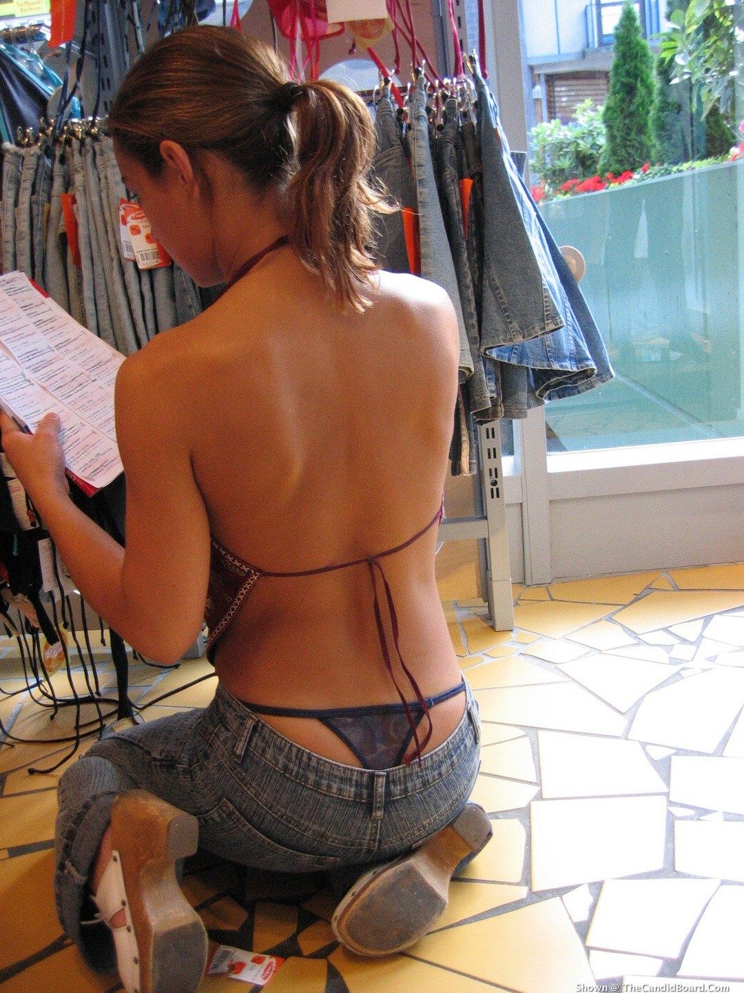 Sexy Thong Pics - Clothing Shop Clerk Checking The Inventory-3656