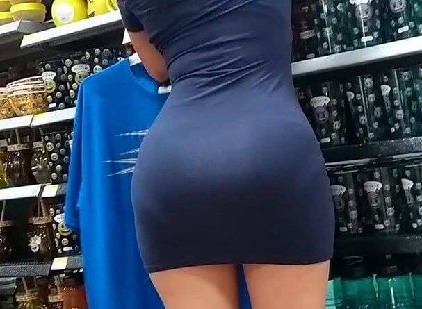 Hot milf in dress at grocery voyeur